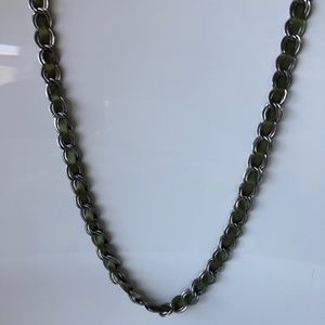 Green and silver ribbon necklace
